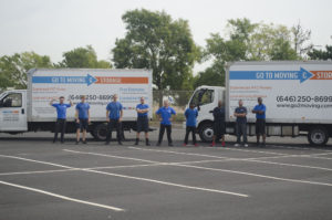 moving trucks and team